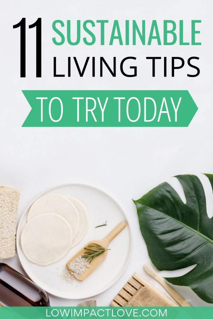 11 Sustainable Living Tips to Try Today - green leaf and wooden bathroom products