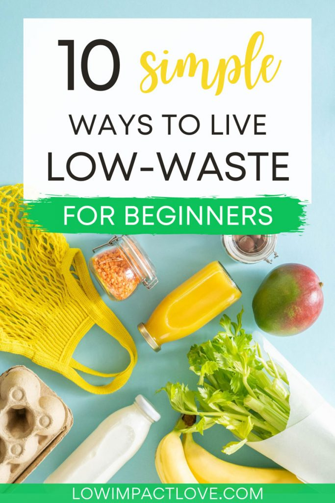 10 Simple Ways to Live Low-Waste For Beginners - flat lay of yellow bag, juice, and produce on blue background