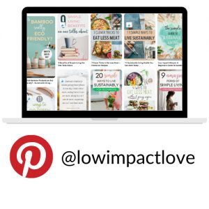 Computer screen with Pinterest pin images with Pinterest icon - text @lowimpactlove