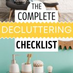 The complete decluttering checklist - collage of two chairs with throw pillows and bathroom countertop with white jars