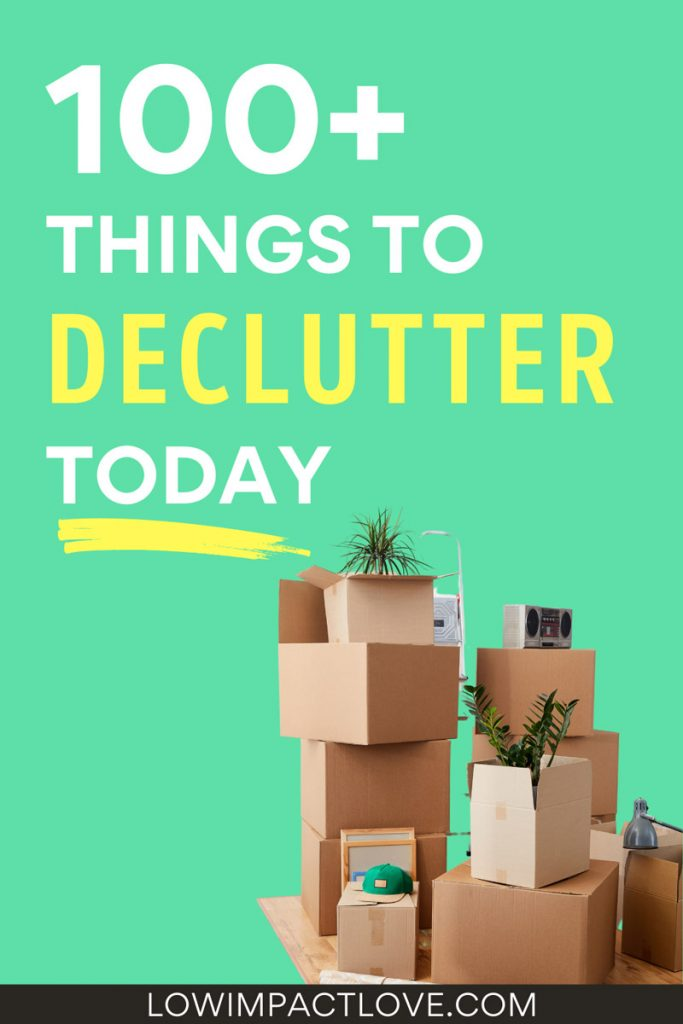 100 things to declutter today - stack of cardboard boxes with plants sticking out of top