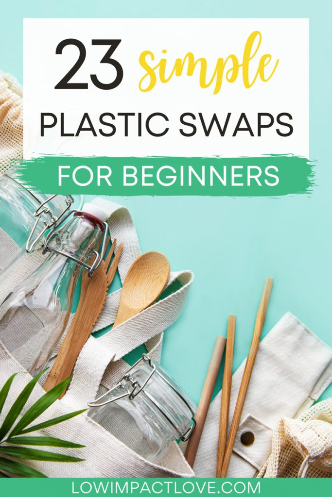 "Bamboo utensils and canvas bag on blue background, with text overlay - ""23 simple plastic swaps for beginners""."