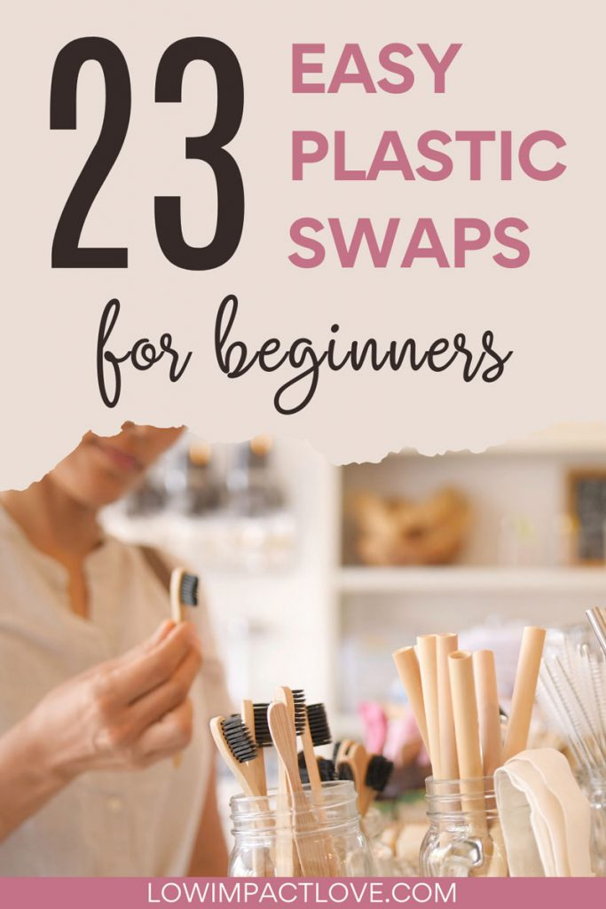 "Woman shopping for bamboo toothbrush, with text overlay - ""23 easy plastic swaps for beginners""."