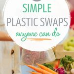 "Woman shopping for produce, text overlay - ""23 simple plastic swaps anyone can do""."