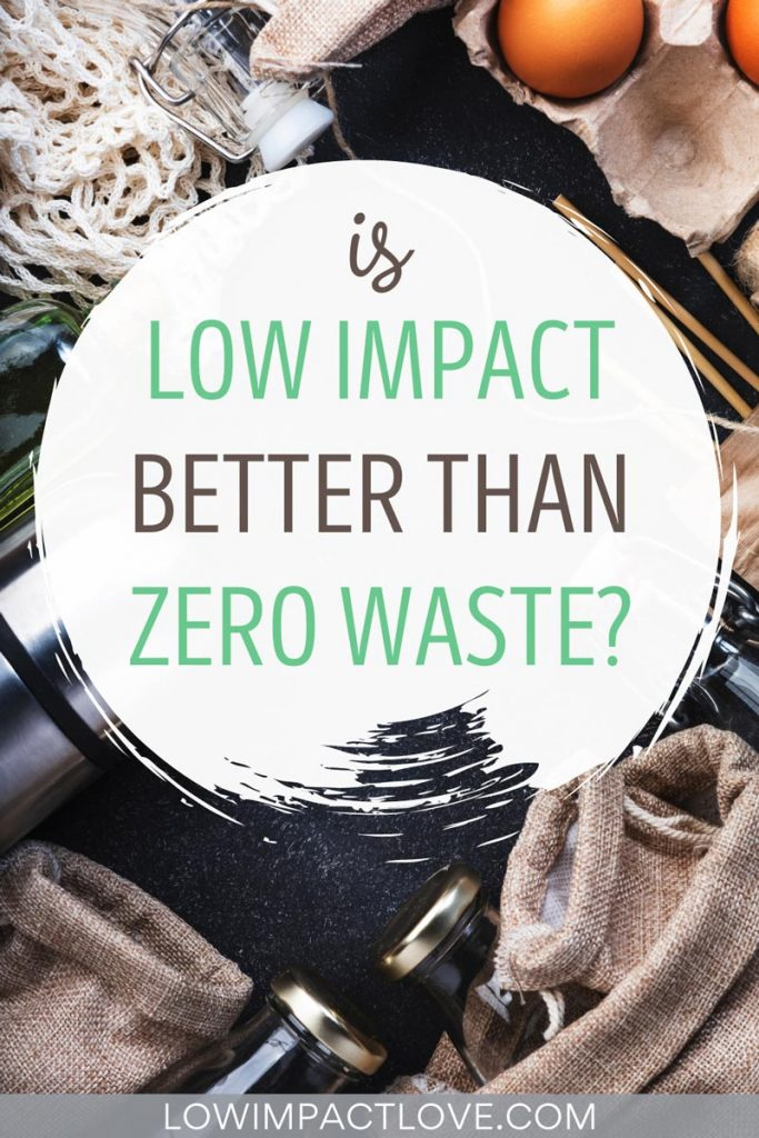 "Flat lay of eggs, brown bags, and bottle, text overlay: ""is low impact better than zero waste?"""