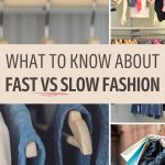 """Collage of clothes on hangers and shopping bags, with text overlay - """"what to know about fast vs slow fashion"""""""