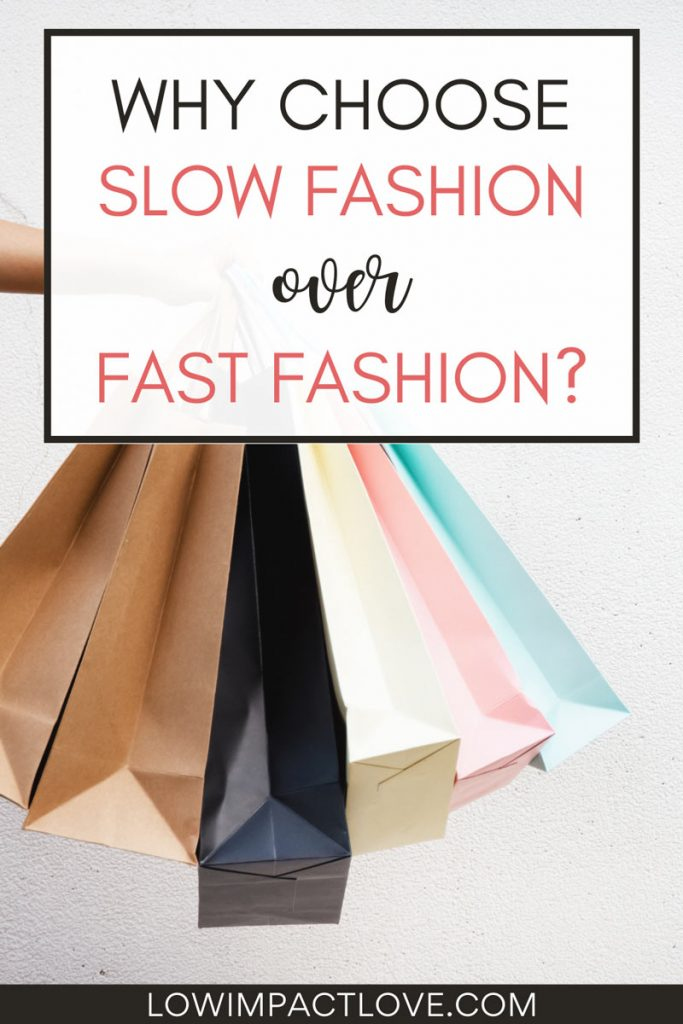 """Six paper shopping bags in hand, with text overlay - """"Why choose slow fashion over fast fashion?"""""""