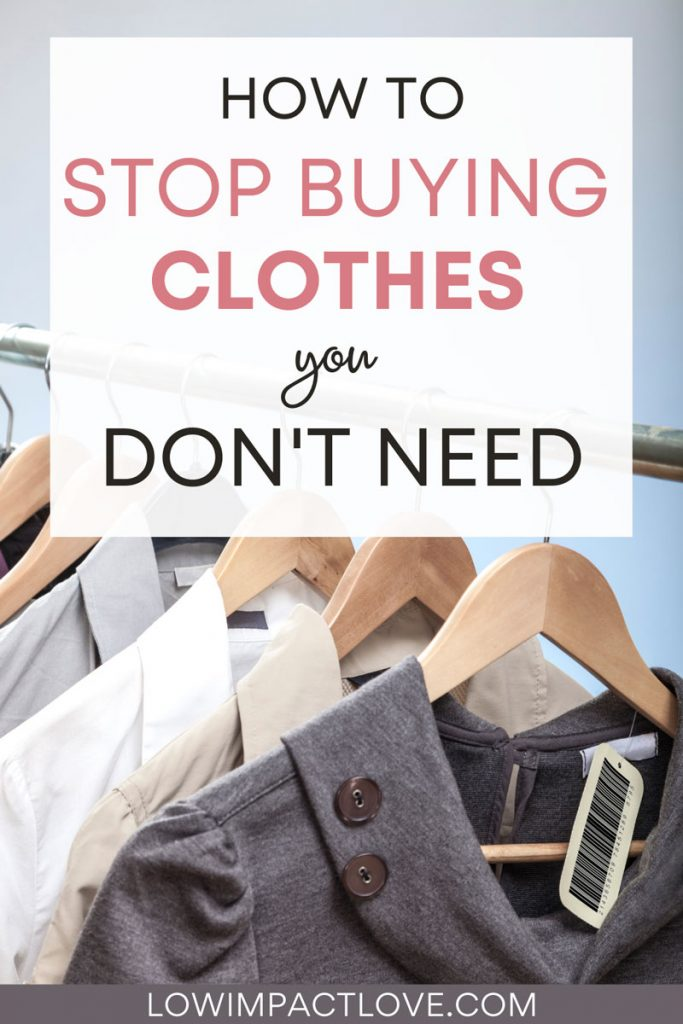 "Grey and cream blouses on rack, with text overlay - ""how to stop buying clothes you don't need""."