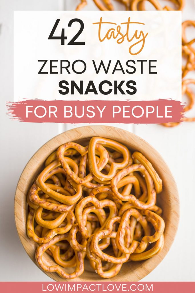 """Bowl of heart-shaped pretzels, with text overlay - """"42 tasty zero waste snacks for busy people""""."""