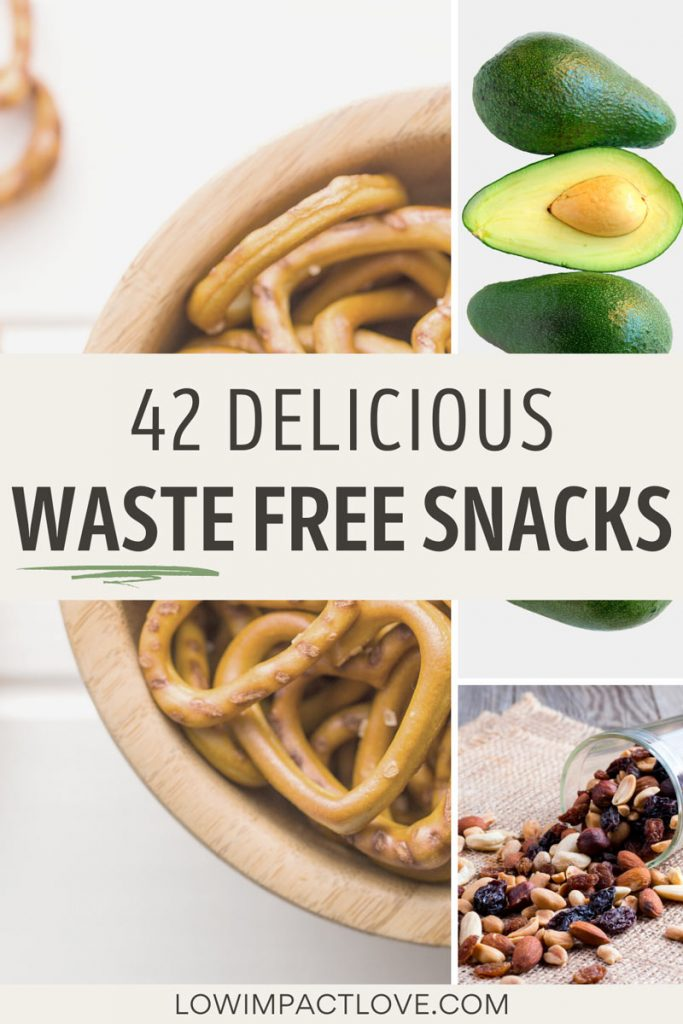 """Collage of pretzels, avocados, and trail mix, with text overlay - """"42 delicious waste free snacks""""."""