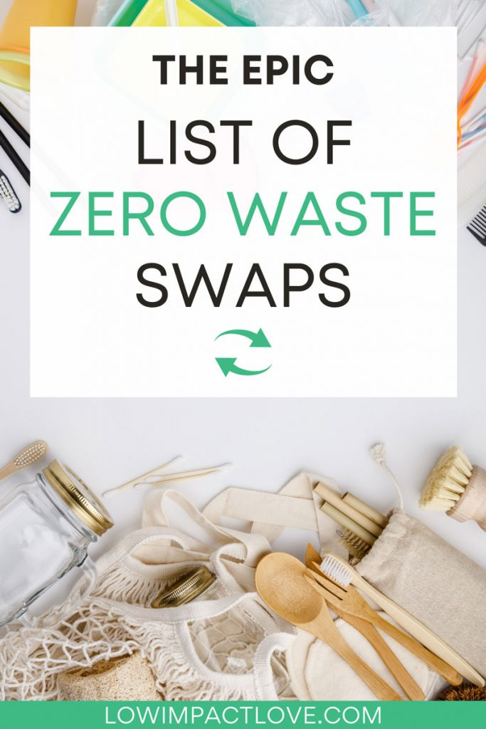 "Flat lay of zero waste products beneath plastic products, with text overlay - ""the epic list of zero waste swaps""."