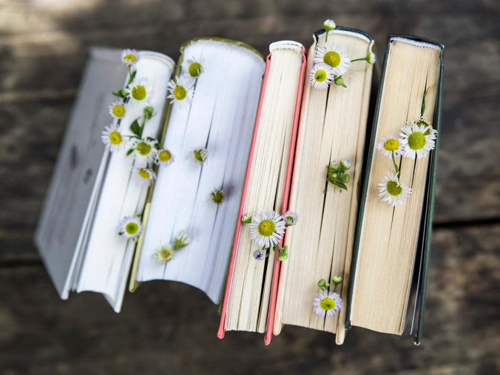 Five books about living simply standing upright with daisies sticking out of pages.
