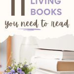 "Stack of five books next to purple flowers, with text overlay - ""11 simple living books you need to read""."