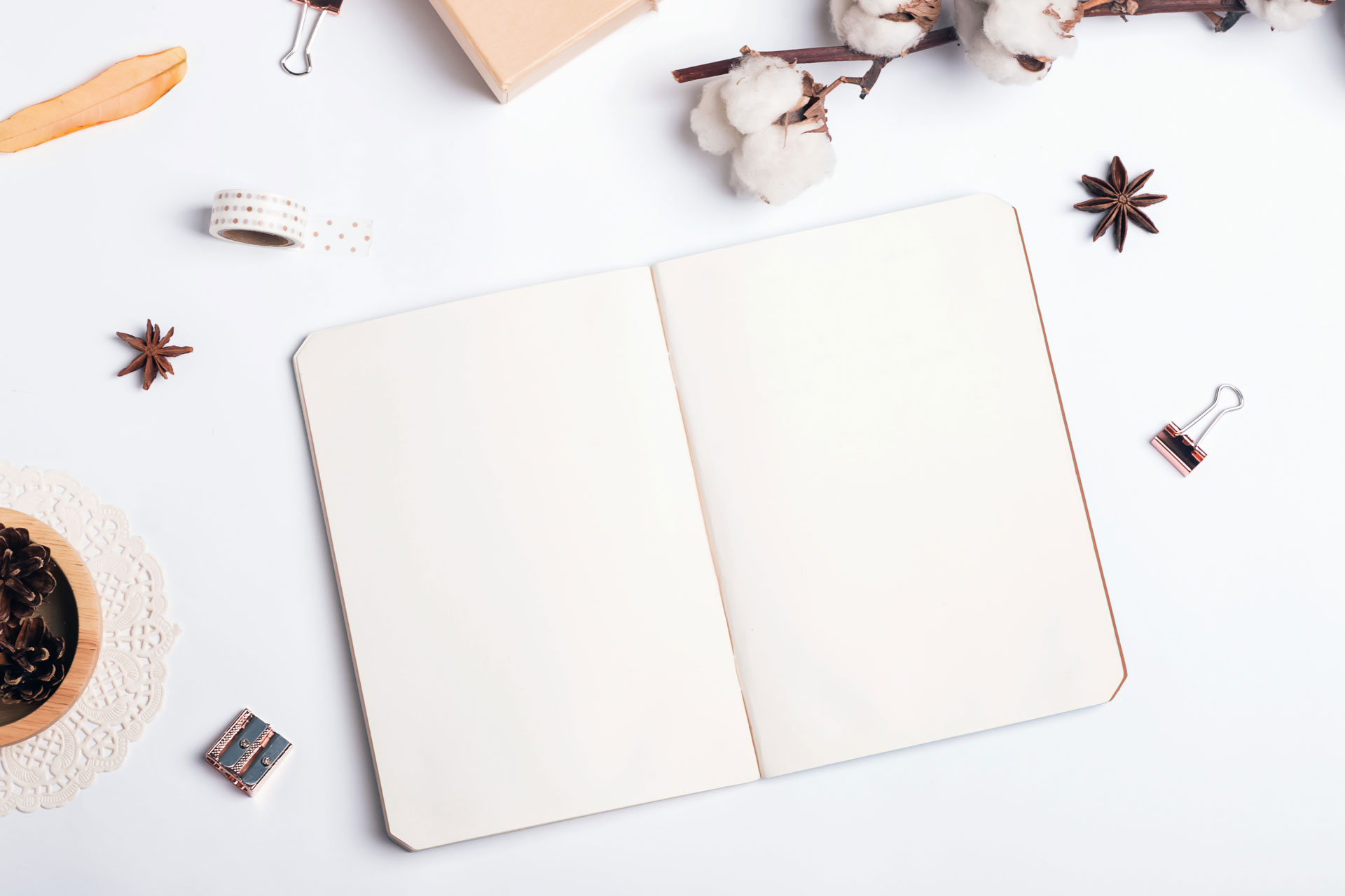 Eco friendly notebook open on white table, surrounded by binder clips and star anise