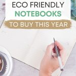"Hand writing in journal, with text overlay - ""10 best eco friendly notebooks to buy this year""."