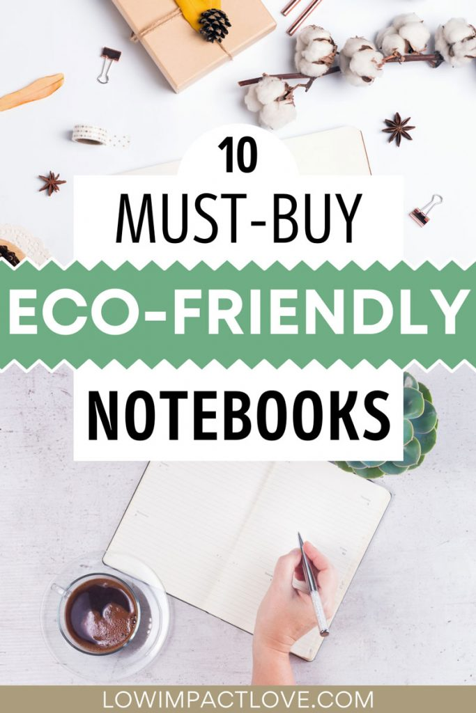 "Collage of notebooks on tables and person writing, with text overlay - ""10 must-buy eco-friendly notebooks""."