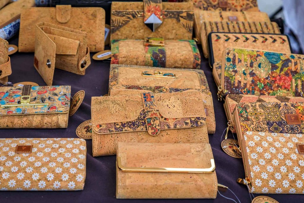 Table displaying the best sustainable wallets made from cork, with various decorative patterns.