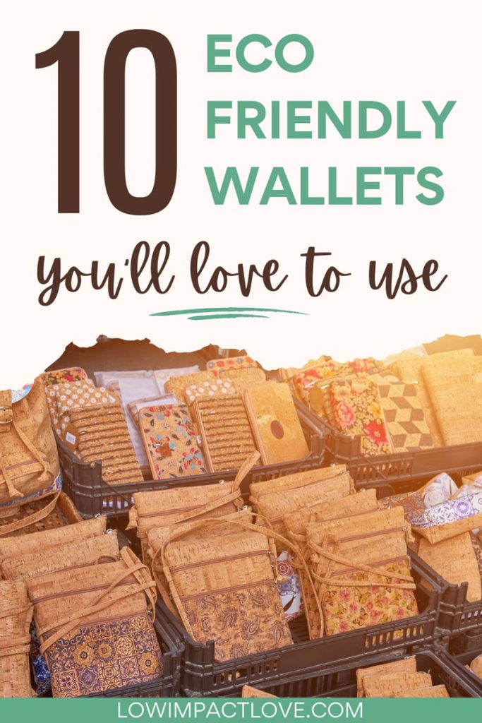 """Crates full of cork wallets with various designs, with text overlay - """"10 eco friendly wallets you'll love to use""""."""