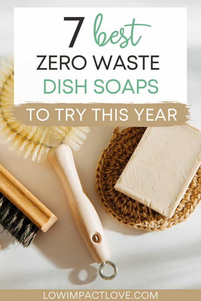 """Flat lay of bamboo dish brushes and brown soap bar, with text overlay - """"7 best zero waste dish soaps to try this year""""."""