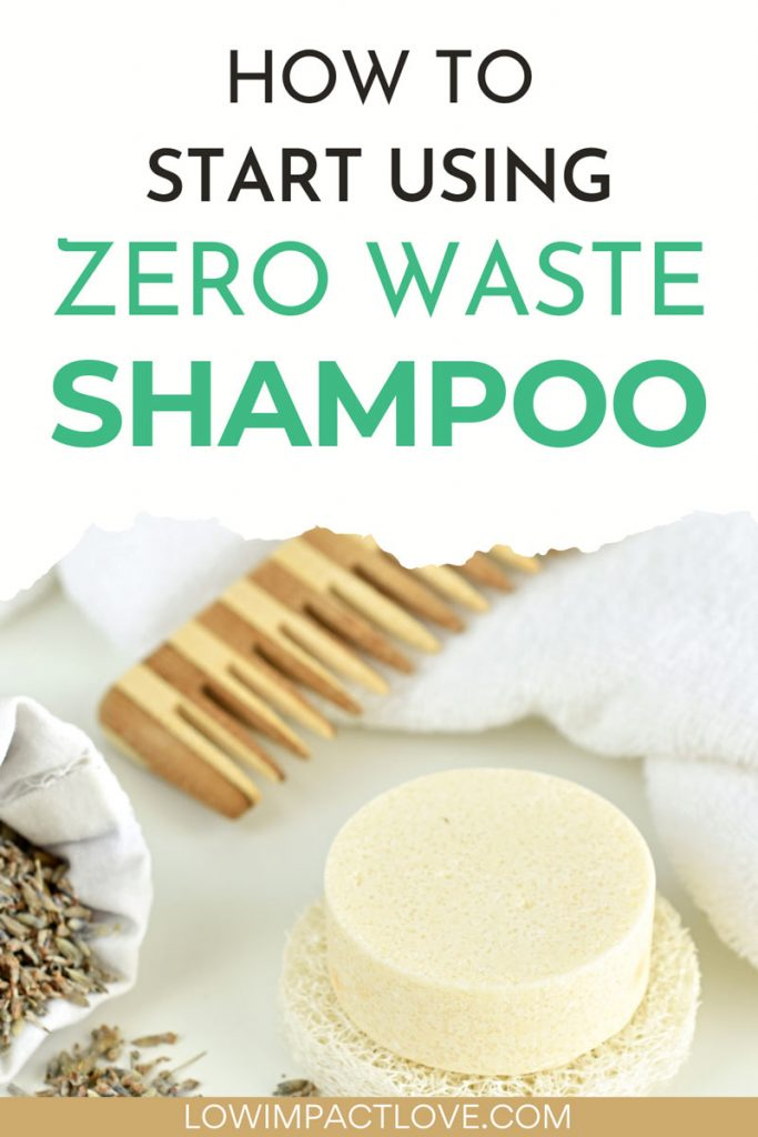 """Cream-colored soap next to wooden comb and white towel, with text overlay - """"how to start using zero waste shampoo""""."""