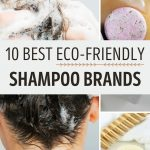 """Collage of woman washing hair and round zero waste soap bars, with text overlay - """"10 best eco-friendly shampoo bars""""."""