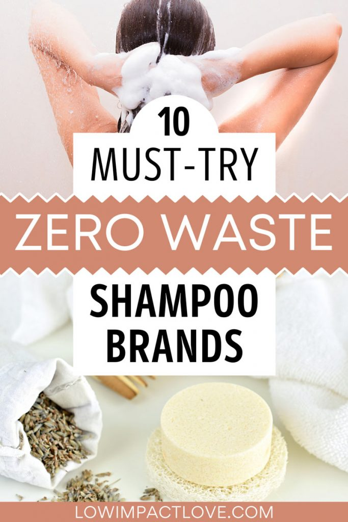 """Collage of woman washing hair and soap bar next to lavender grain, with text overlay - """"10 must-try zero waste shampoo brands""""."""