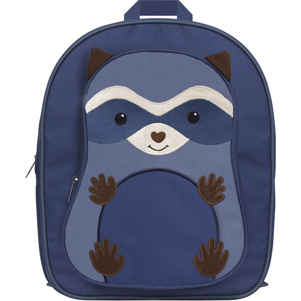 Isolated blue backpack with raccoon print on front.