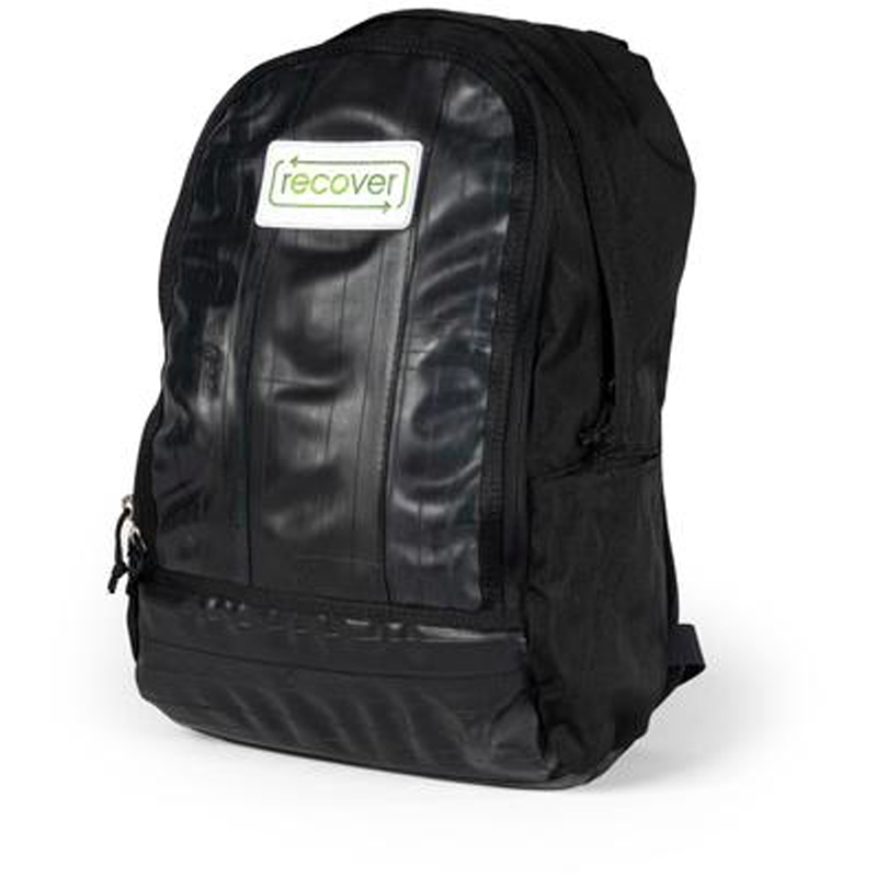 Isolated black Recover Bike Tube eco backpack.