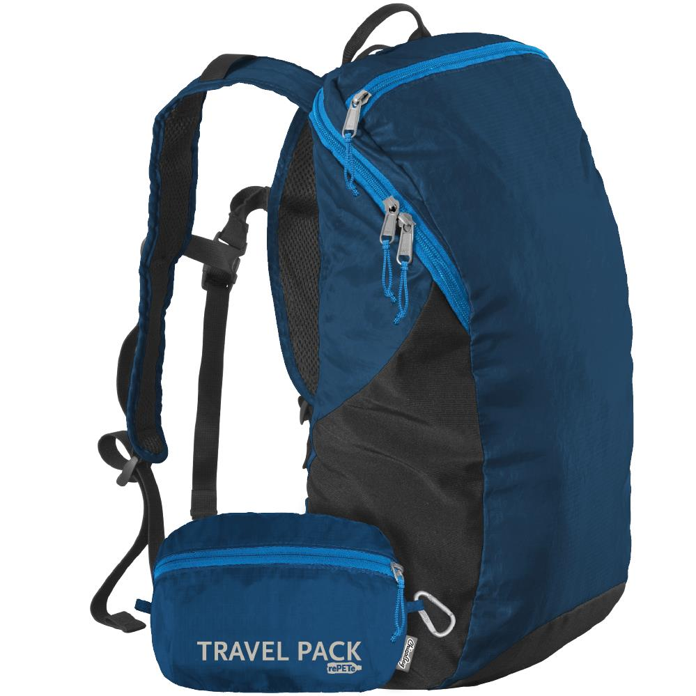 Isolated blue and back ChicoBag travel pack.