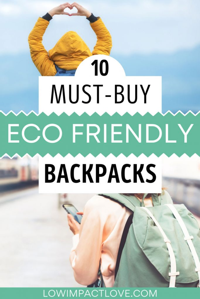 "Collage of women wearing coats and backpacks, with text overlay - ""10 must-buy eco friendly backpacks""."