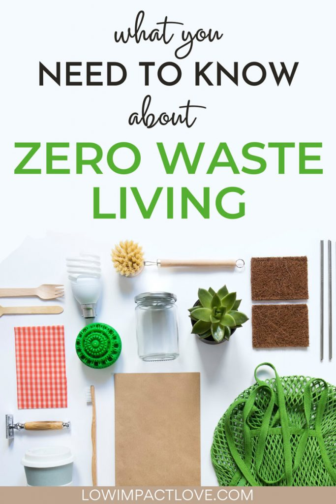 "Flat lay of reusable kitchen and cleaning products, with text overlay - ""what you need to know about zero waste living""."