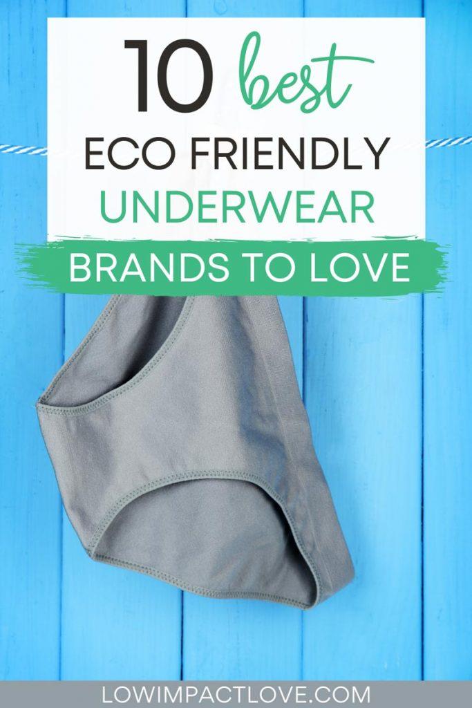 "Grey briefs on blue background, with text overlay - ""10 best eco friendly underwear brands to love""."