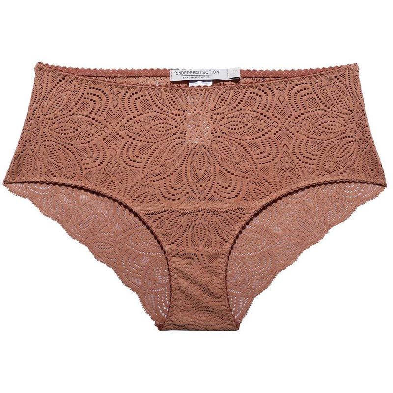 Isolated image of brown lace briefs.