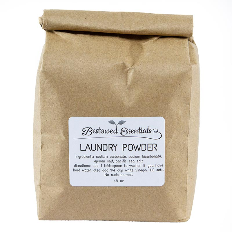 Isolated image of Bestowed Essentials zero waste laundry powder in brown bag.