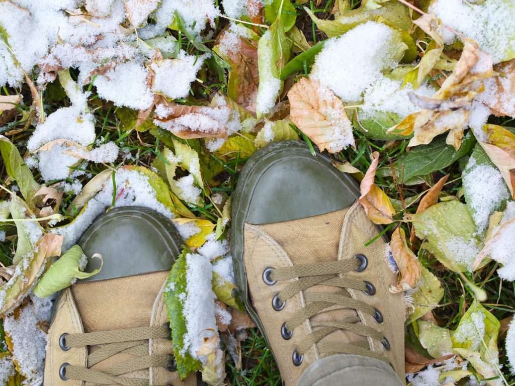 Pair of fabric lace-up eco friendly winter boots on leaves covered in snow.